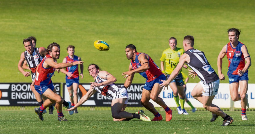 West Perth captain Aaron Black has his eyes on the ball. Picture: Dan White