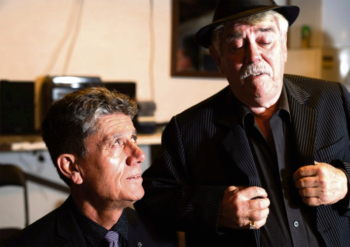 The Old Mill Theatre performers Gino Cataldo as the gangster boss 'Mickey' and Rex Gray as sidekick 'Bill' in A Picture of Betrayal.