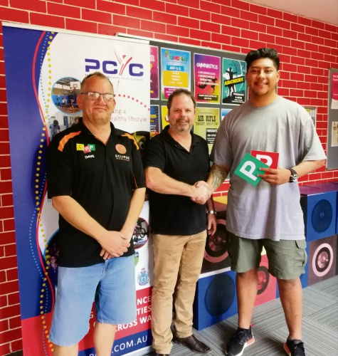 Eclipse Driving School owner Dave Butcher, Rockingham PCYC manager Justin Sambell and Jeremy Faatele.
