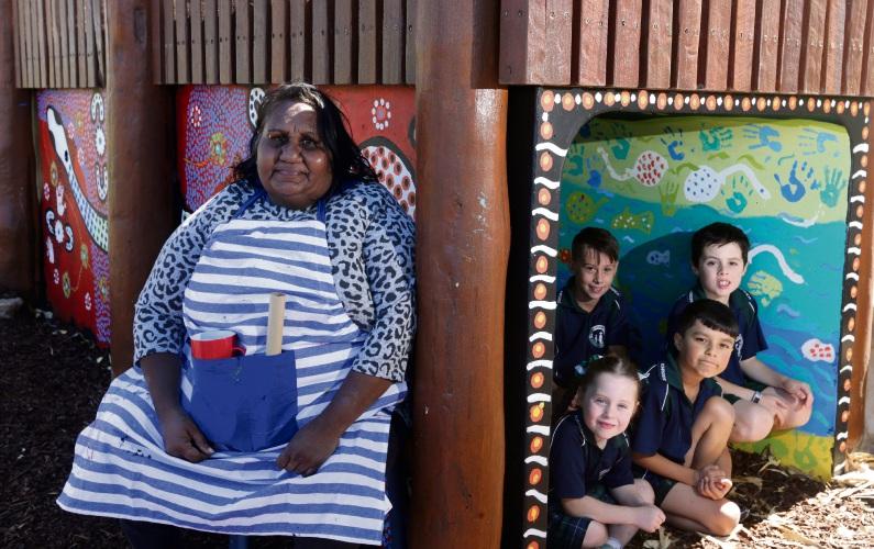 Ngarluma artist Loreen Samson with Alysia Cooper (Year 1), Blake Eamus (Year 5), Noah Jowitt (Year 2) and Zane Cooper (Year 3). Picture: Martin Kennealey d492055