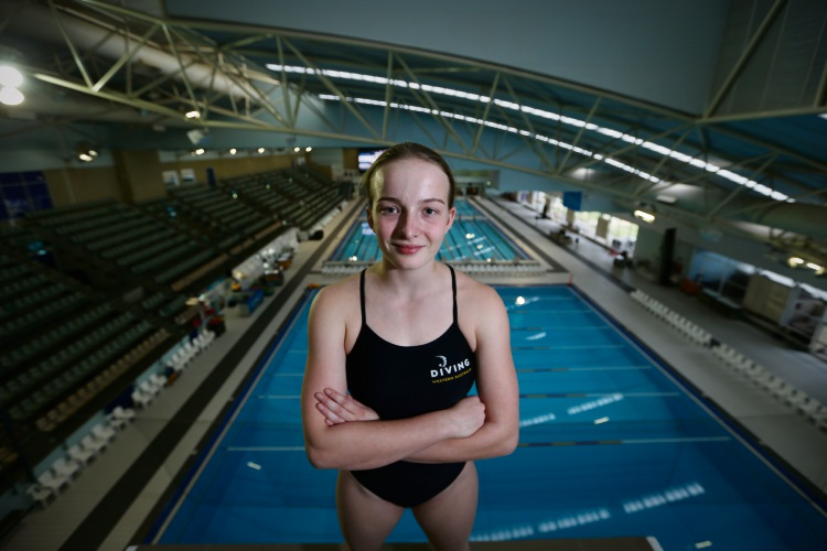 Floreat resident Hayley Galvin made a spalsh at the 2019 Australian Age Diving Championships. Picture: Andrew Ritchie www.communitypix.com.au   d492801a