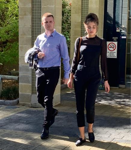 James Warden and Katrina Sobianina leaving Mandurah Magistrates Court this morning.