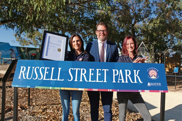 City of Bayswater catchment management officer Rebecca Ferguson, Mayor Dan Bull and environmental sustainability strategy officer Jennie Arts.