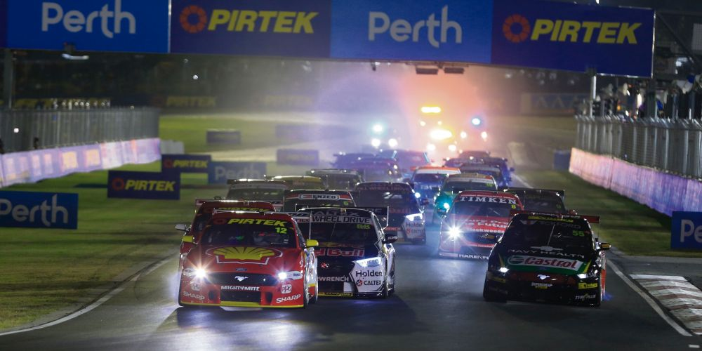 Heading into the first turn of Friday night's race at Barbagallo. Picture: Barnsiesphotos