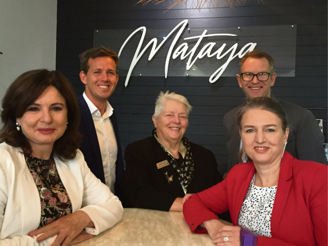 Canning Labor candidate Mellisa Teede, who released the funding announcement at local café Mataya with Mayor Rhys Williams, Peel Development Commission chair Paddi Creevey, Murdoch campus chief of staff David Morrison and Shadow Assistant Minister for Universities Louise Pratt.