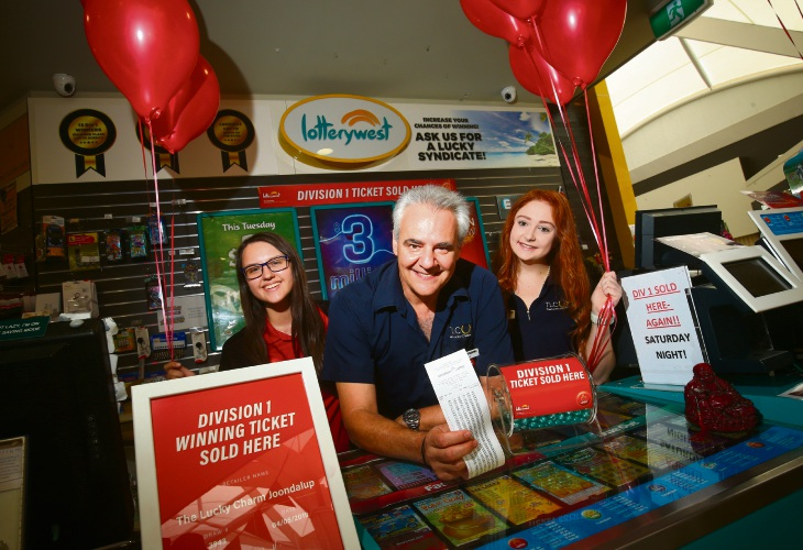 The Lucky Charm Joondalup owner Spiros Scafidas with staff members Mirela Lupu and Jeanay Van Schalkwyk. Picture: Matt Jelonek d492945