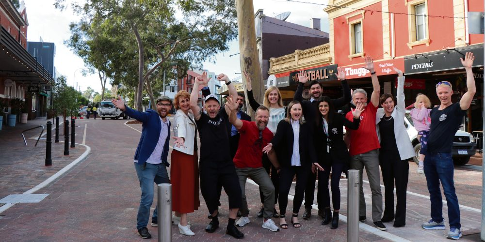 City of Vincent councillors, Mayor Emma Cole, City staff and local businesspeople in the newly-finished Leederville Village Square. Picture: Supplied.