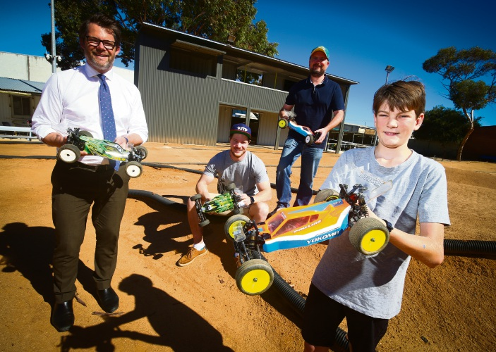 Mayor Dan Bull with President Jarrod Smith, father-son members James and Connor Bostock with the new Drivers Platform at the West Coast Model RC Club in Bayswater Picture: Matt Jelonek www.communitypix.com.au d492713