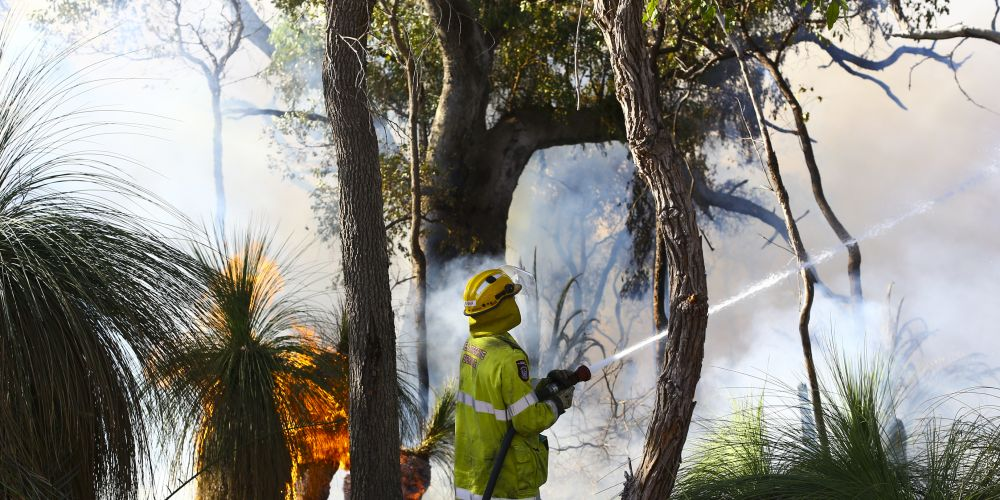 The parks and wildlife service is carrying out a prescribed burn in Yellagonga Regional Park. Pictures: Matt Jelonek