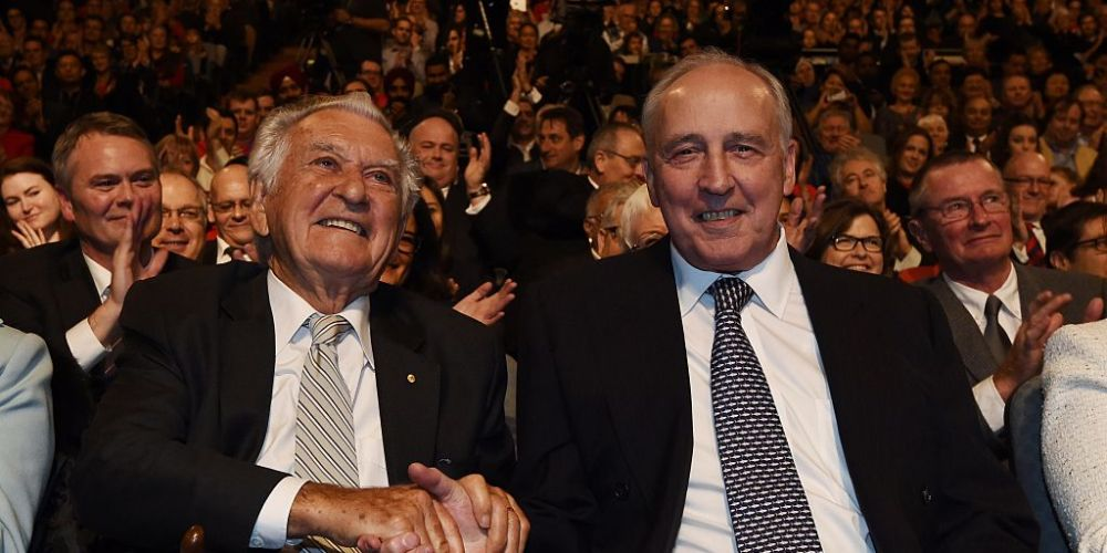 Bob Hawke and Paul Keating in 2016. Photo: Getty