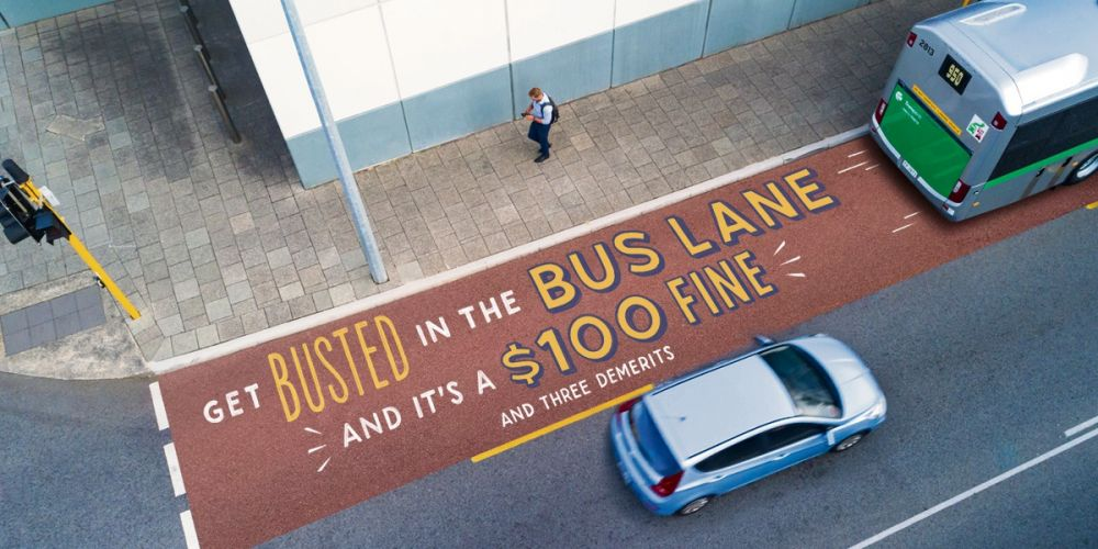 Fines apply for driving in a bus lane illegally.