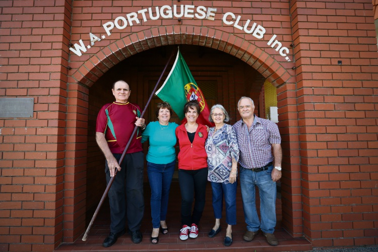 Henrique Jorge and Cindy Jorge,Rubi Brophy, Isabel Faustino and Jaime Correia. Portugal Day is coming up in June. The two Portuguese clubs North & South of the river will be holding celebrations to commemorate the day. Picture: Andrew Ritchie www.communitypix.com.au   d492942