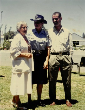 Kim on her graduation day from the WA Police Academy in 1989 with grandmother Doris Travers and brother Garry Travers