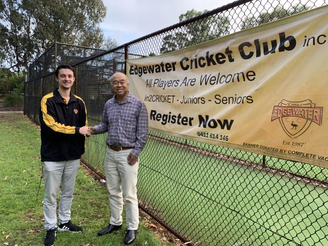 Edgewater Cricket Club president Clint Chester with Moore MHR Ian Goodenough.