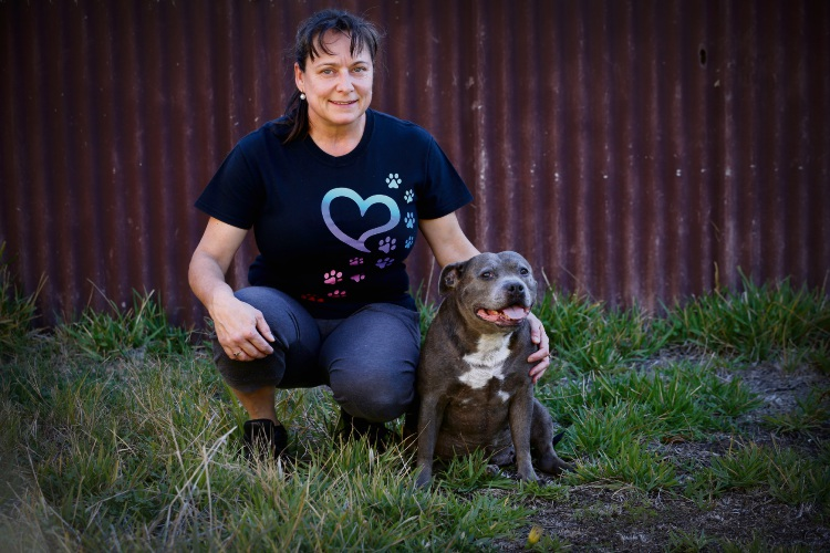 Hamilton Hill staffy Shani and her owner Annie Kennerly are looking forward to the RSPCA's Million Paws Walk. Photo: Jon Hewson. 492858 communitypix.com.au.
