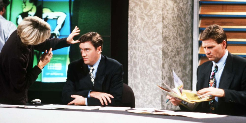 Eddie McGuire and Sam Newman on The Footy Show set in 1999. Photo: Getty