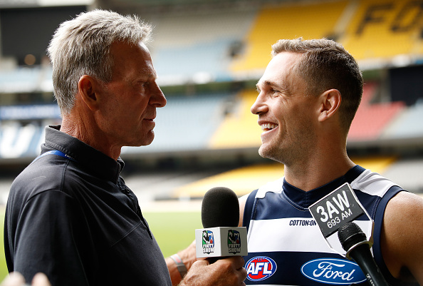 File photo. Joel Selwood of the Cats is interviewed by Sam Newman for the Footy Show. Picture: Adam Trafford/AFL Media/Getty Images