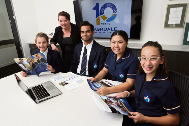 Ashdale Secondary College principal Kylie Bottcher with students Rylan Gama, head boy Callum Shenton, head girl Lily Nguyen and Alexia Italiano. Picture: Bruce Hunt www.communitypix.com.au d492990
