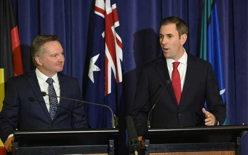 Shadow treasurer Chris Bowen and Shadow Minister for Finance Jim Chalmers announce the Labor budget costings during a press conference at Parliament House in Canberra. Picture: AAP Image/Rohan Thomson