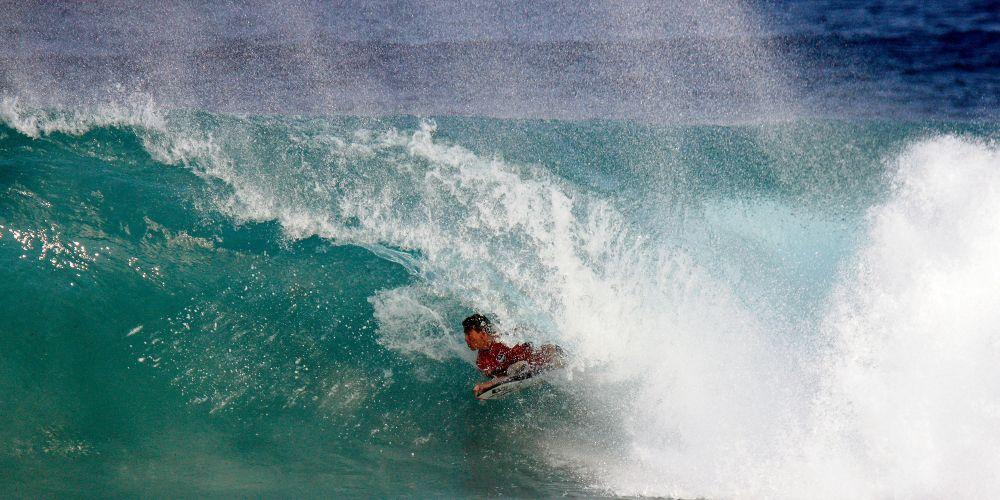 Trigg surfer Joel Hughan competing at the WA Bodyboard Titles. Photo: Justin Majeks/Surfing WA
