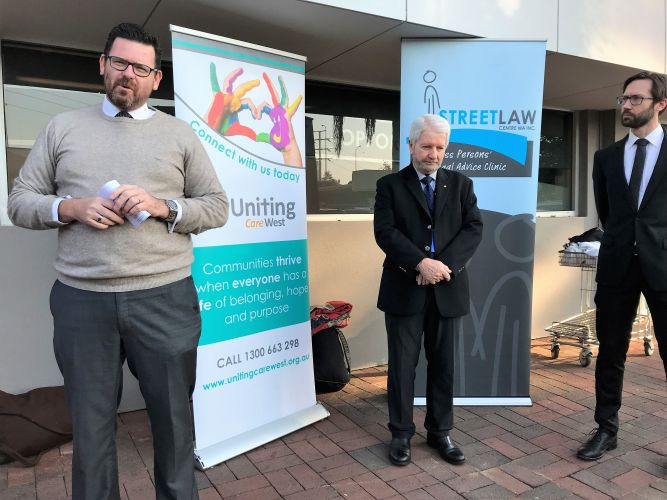Chief Justice Peter Quinlan, UnitingCare West Chair Peter Fitzpatrick and Street Law WA Chairperson Drew Broadfoot. Photo: Supplied.