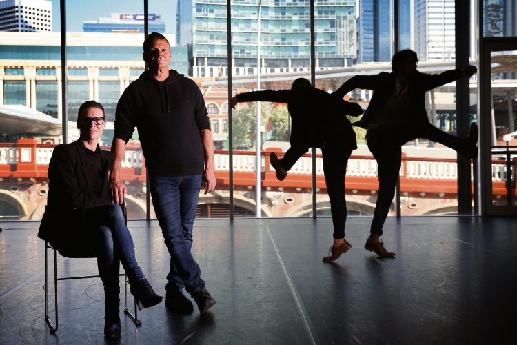 Raewyn Hill and Mark Howett with dancers. Picture: Andrew Ritchie d492914