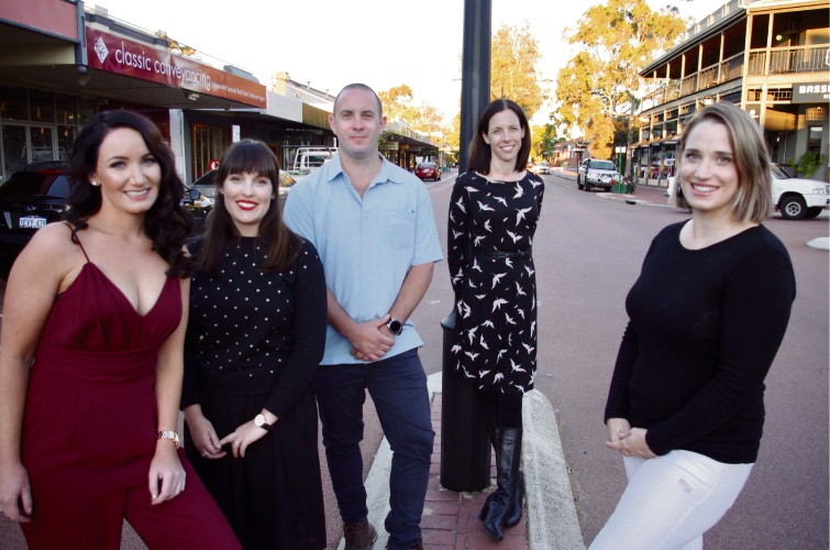 Lizzie Richardson, Tegan Patrucco, Phillip Salmon, Bassendean Mayor Renee McLennan, Caris Mooney. Picture: Carol Siedel.