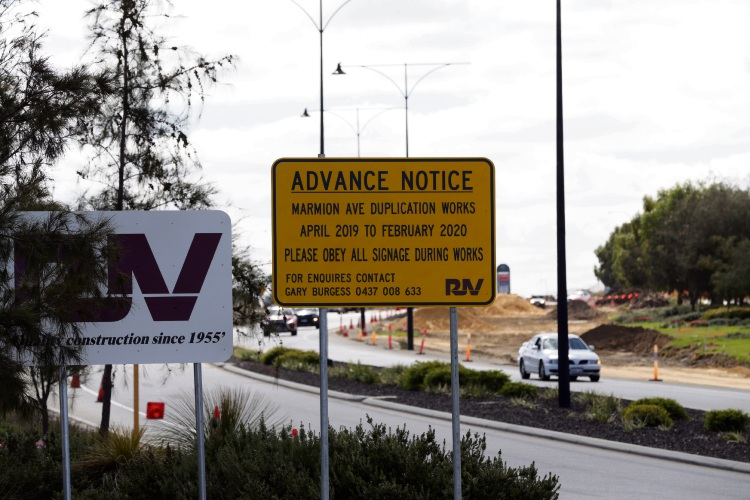 Marmion Avenue widening works.