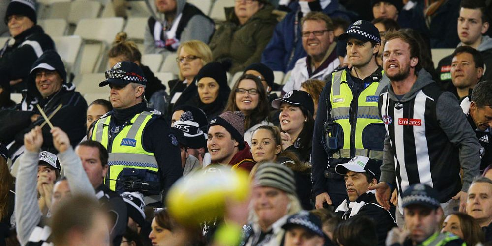 Police keep an eye on things at the MCG. Photo: Getty