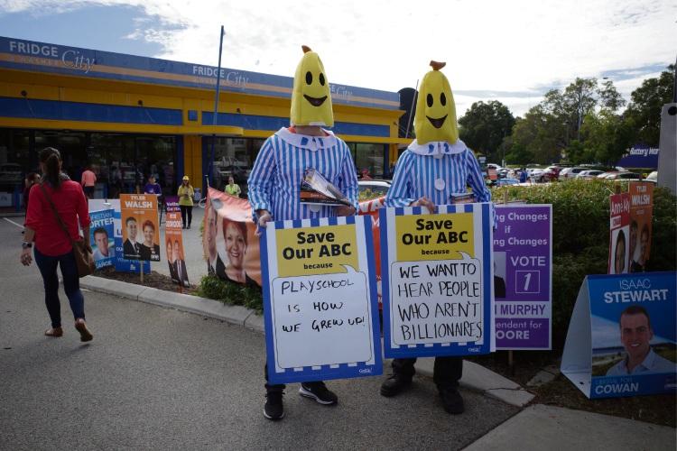 GetUp! volunteers dressed as Bananas in Pyjamas. Picture: Martin Kennealey