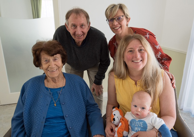 Five generations of the Gibson family meet for the first time: Rose Gibson with son Trevor, granddaughter Bev Lee, great-granddaughter Caitlin and great-great-grandson Riley (3 months).