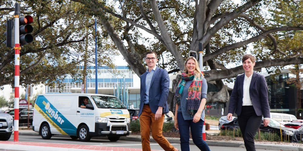 Perth MP John Carey, local resident Molly Tipping and City of Vincent Mayor Emma Cole at the new Vincent Street crossing. Picture: Simon Duffecy.
