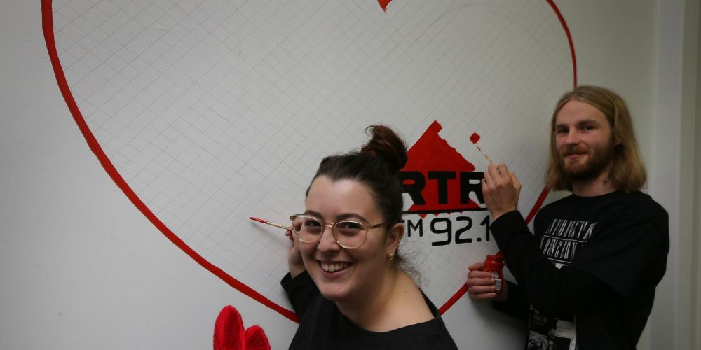 Taylah Strano (Breakfast presenter) and volunteer Warwick Montgomery. It's Radio Love Month at RTRFM - they're calling on supporters and listeners to donate through May and show their love for the local station. Picture: Andrew Ritchie www.communitypix.com.au   d493049