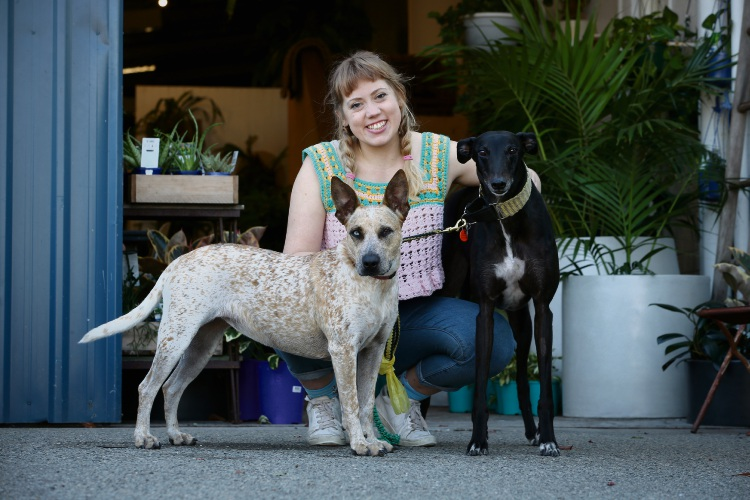 Leah Vlatko with her dogs Maisy and Swede. Photo: Andrew Ritchie. d493164 communitypix.com.au