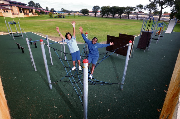 L-R: Year 6 students Lucas Hoeden (11) of Mt Lawley and Matthew Moyo (11) of Dayton at the new Ninja Playground. Photo: David Baylis