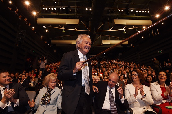 Bob Hawke pictured with wife Blanche d'Alpuget and former prime ministers Paul Keating and Julia Gillard in 2016. Picture: Getty Images
