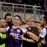 Scott Neville of the Glory celebrates after scoring a goal in extra time during the A-League Semi Final match between the Perth Glory and Adelaide United at HBF Park on May 10, 2019 in Perth, Australia. (Photo by Will Russell/Getty Images)