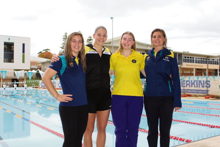 493264pa Zoe Arancini, MLC IGSSA coach Chelsea Unwin, MLC Head Girl Sophie Rasmussen and Lilian Hedges at the CCGS50m pool. Photo: Victoria Rifici.