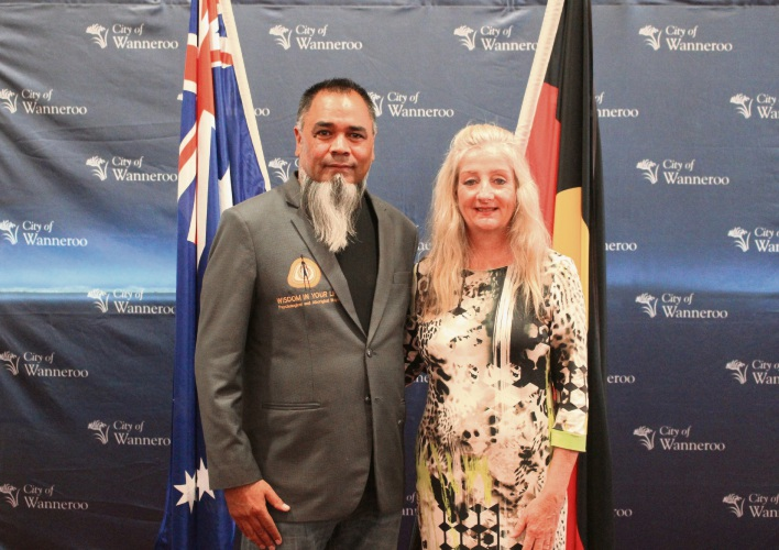 Shaun Nannup and Wanneroo Mayor Tracey Roberts.