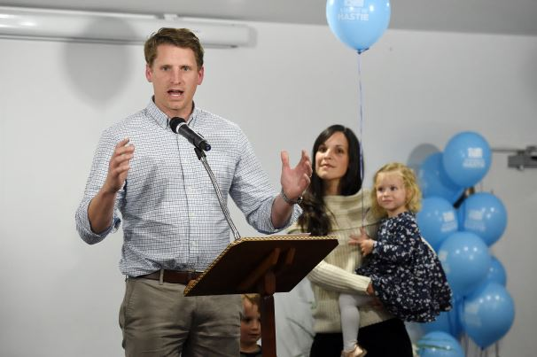 Andrew Hastie with wife Ruth, Jonathan and Beatrice Picture: Jon Hewson www.communitypix.com.au   d493289