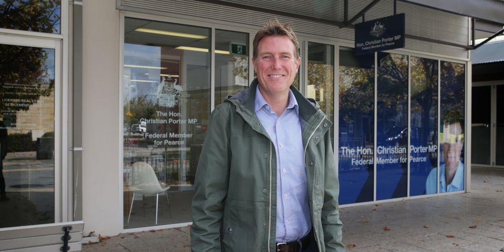 Attorney General and Pearce MHR Christian Porter outside his electoral office this morning. Photo: Martin Kennealey