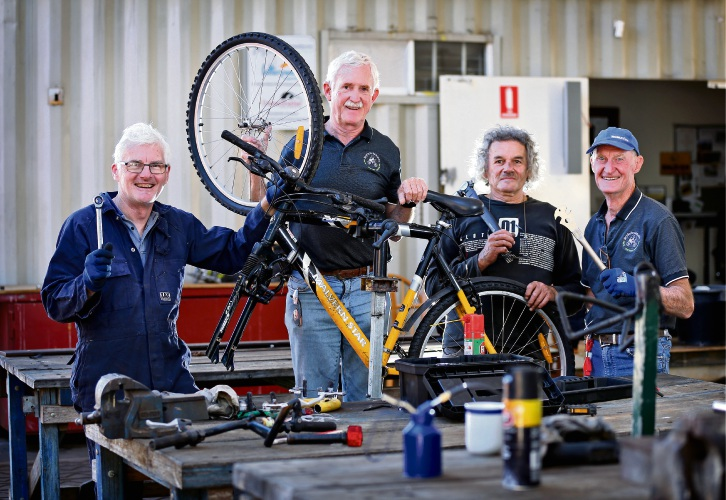 Bicycles for Humanity volunteer Andrew Rawlinson (left), South Perth, director David Tucker, Crawley, Peter Sam, Bayswater and co-founder and project coordinator Jamie Brindle, Guildford. Photo: David Baylis