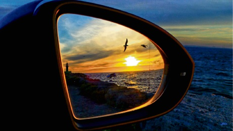 Karen Oakes captures the Fremantle sunset in her car's side mirror.