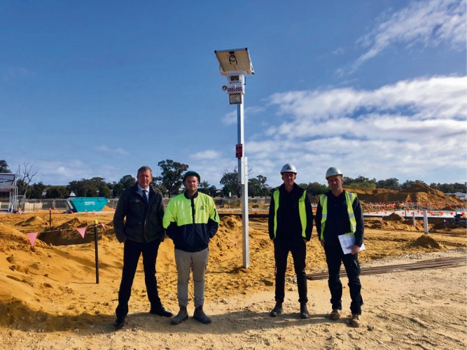 Baldivis Mp Reece Whitby, Universal Construction worker Connor Hill with manager Matt Carr and Michael Bunn of Spectur.