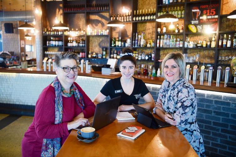 Carolyn Parker, Dainah Stacey (The Quarie Pub Duty Manager) & Lee-Anne Smith. Photo: Jon Hewson. d492778 communitypix.com.au