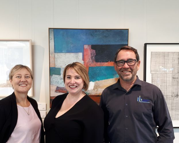 Rockingham Kwinana Chamber of Commerce executive assistant Diana White and chief executive Tony Solin with Sarah Blake (middle).