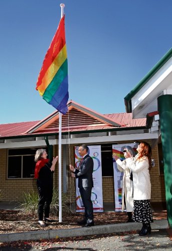 Health Minister Roger Cook raises the rainbow flag at Bentley Hospital. Picture: David Baylis d493277.
