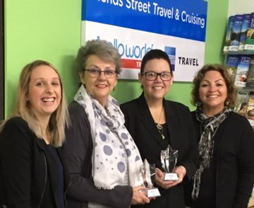 Mends Street Travel and Cruising Helloworld staff Treacy Teen, Judy Martin, Jackie Wishart and Margaret McGowan.