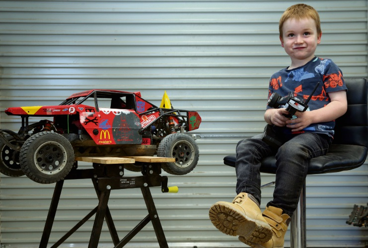 Sam Robertson with his baja radio-controlled car. Pictures: Martin Kennealey www.communitypix.com.au d492574