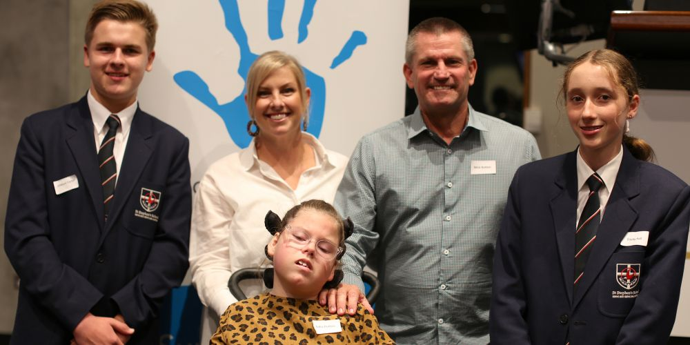 St Stephen's School students William Carter and Trinity Hall with Kirsten, Mick and Saba Rose Button at a WA Charity Direct annual event.